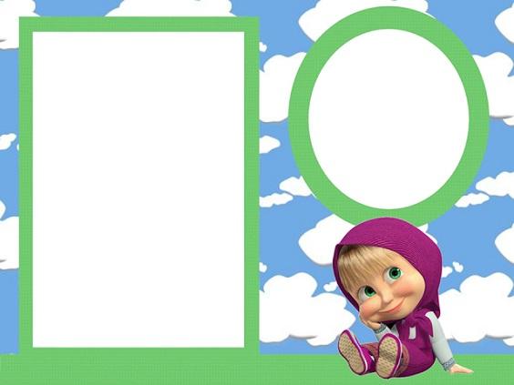 Imágenes, marcos, invitaciones, etiquetas de Masha y el Oso